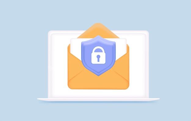 Conceito de publicidade online de marketing por e-mail cartas protegidas segurança de e-mail