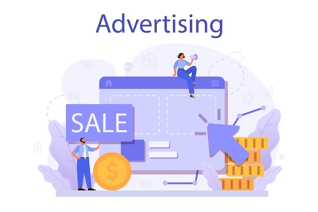 Conceito de publicidade. propaganda comercial e comunicação com ideia do cliente. campanha de marketing e promoção fora de casa.