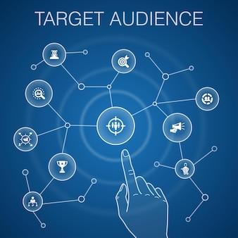 Conceito de público-alvo, fundo azul. consumidor, dados demográficos, nicho, ícones de promoção