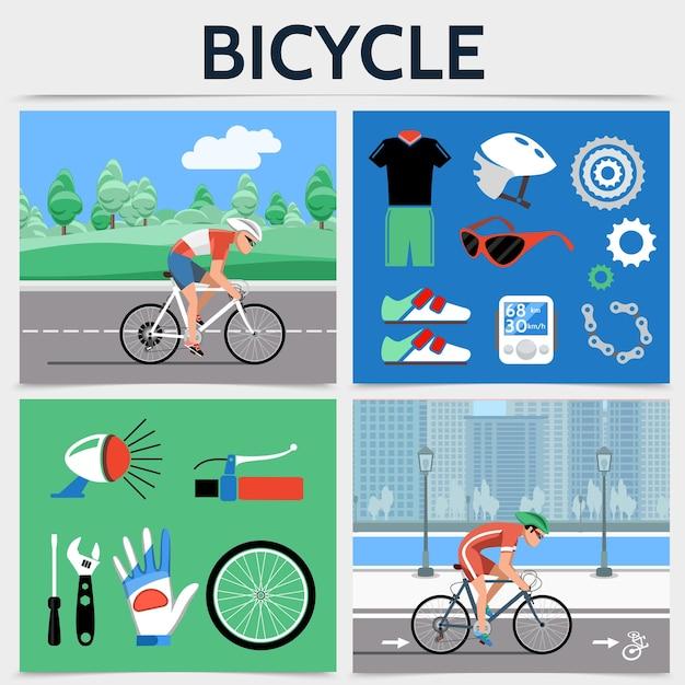 Conceito de quadrado de bicicleta plana com ciclistas andando de bicicleta na estrada, capacete, velocímetro, corrente, velocímetro, tênis