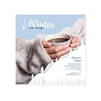 Conceito de quadrado de panfleto de inverno