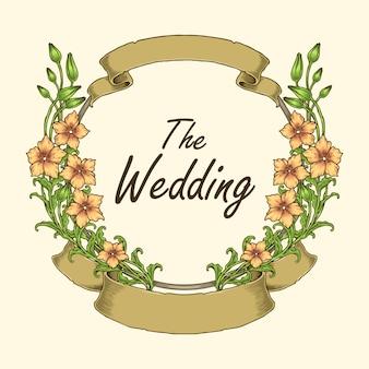 Conceito de quadro de casamento com flor