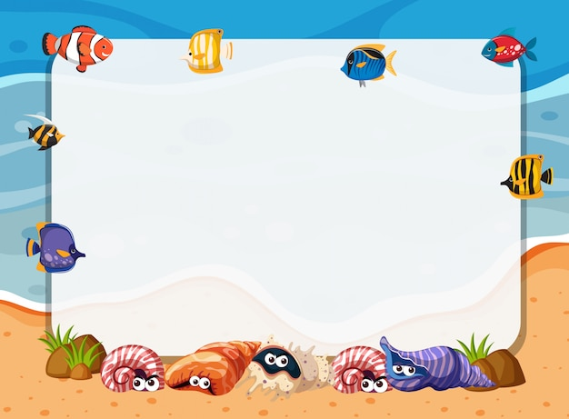 Conceito de quadro de criaturas do mar subaquática