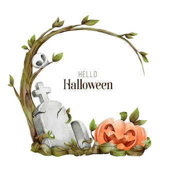 Conceito de quadro de halloween em aquarela