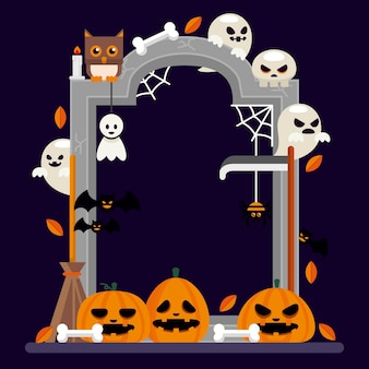 Conceito de quadro de halloween plana