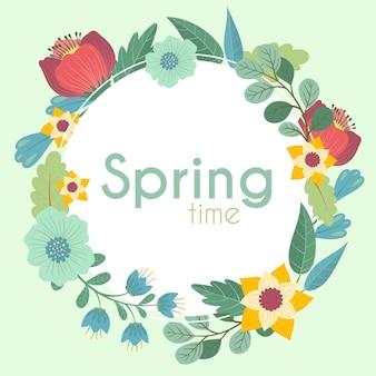 Conceito de quadro floral primavera desenhada de mão