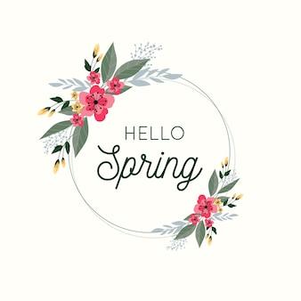 Conceito de quadro floral primavera plana