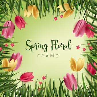 Conceito de quadro floral primavera realista