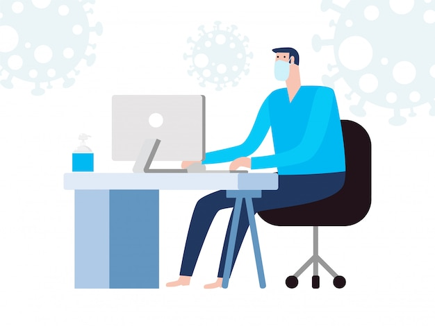 Conceito de quarentena de coronavírus. homem que trabalha em casa. fique em casa, sentado e trabalhando no laptop. pessoas com computador. impedir que a infecção se espalhe isolado no fundo branco
