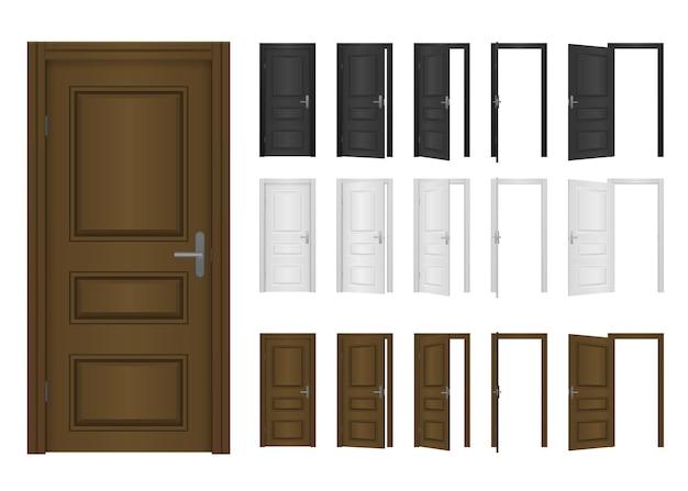 Conceito de quarto clássico. entrada exterior em madeira com luz brilhante. porta da frente aberta e fechada da casa isolada no fundo branco