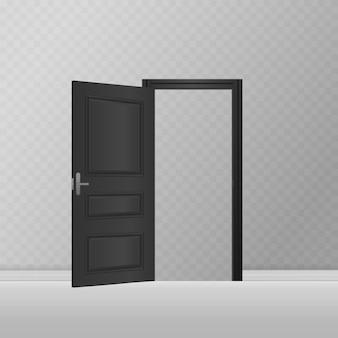 Conceito de quarto clássico - entrada externa de madeira aberta e fechada - porta realística da frente da casa Vetor Premium