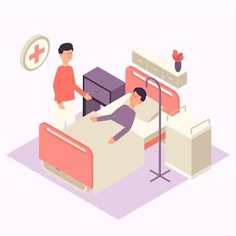 Conceito de quarto de hospital isométrico