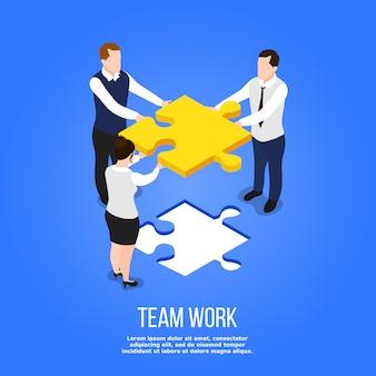 Conceito de quebra-cabeça isométrica de trabalho em equipe