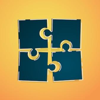 Conceito de quebra-cabeça. quatro peças do quebra-cabeça conectadas entre si
