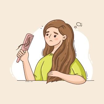 Conceito de queda de cabelo desenhado à mão plana ilustrado