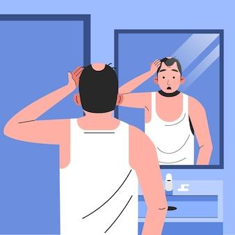Conceito de queda de cabelo desenhado à mão plana