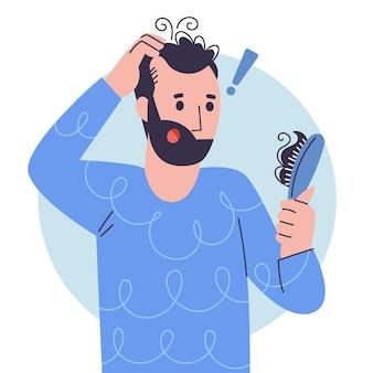 Conceito de queda de cabelo desenhado à mão