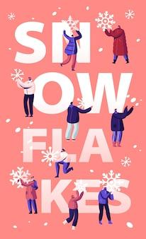 Conceito de queda de neve. ilustração plana dos desenhos animados
