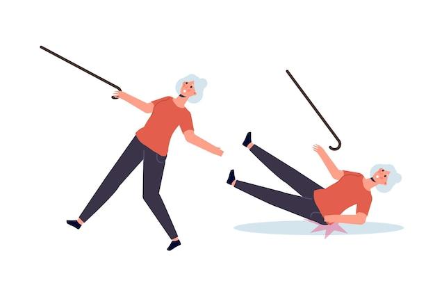 Conceito de queda de pessoas idosas. ilustração vetorial no estilo cartoon