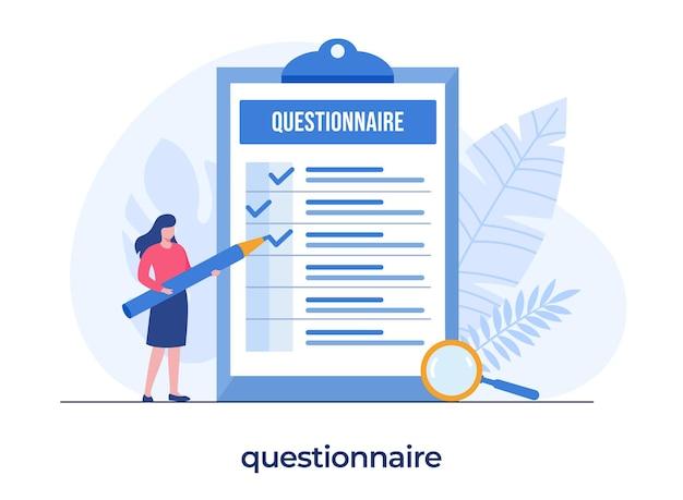 Conceito de questionário, formulário de questionário de preenchimento de menina com lápis, pesquisa, lista de verificação, enquete, modelo de ilustração plana de vetor