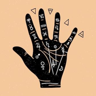 Conceito de quiromancia com mão