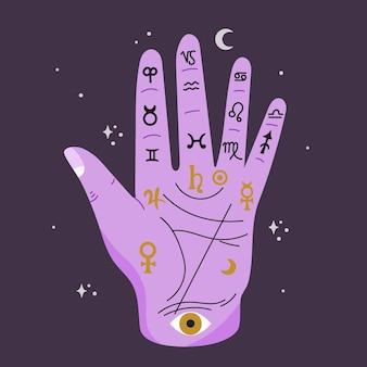 Conceito de quiromancia com símbolos diferentes