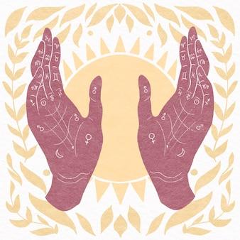 Conceito de quiromancia mística de mão desenhada