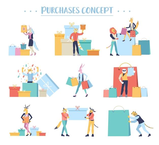 Conceito de r pessoas de compras. ilustração de compra