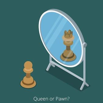 Conceito de rainha ou peão. figura de xadrez de peão, olhar no espelho, ver rainha.