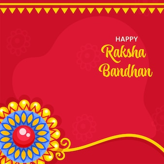 Conceito de raksha bandhan feliz com floral rakhi