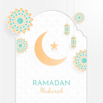 Conceito de ramadan kareem com padrões geométricos islâmicos.