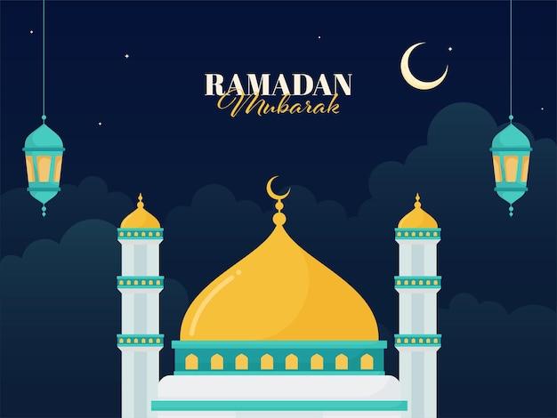 Conceito de ramadan mubarak com ilustração de mesquita
