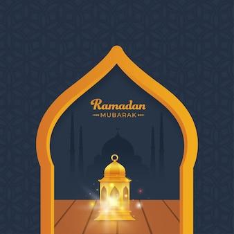 Conceito de ramadan mubarak com lanterna iluminada dourada e mesquita de silhueta em fundo cinza padrão islâmico.