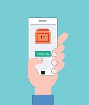 Conceito de rastreamento de entrega e mão segurando o smartphone com caixa de pacote no aplicativo móvel na tela.