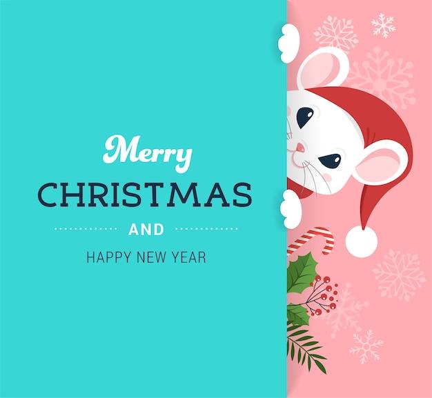 Conceito de rato de papai noel, ano novo chinês e feliz natal.