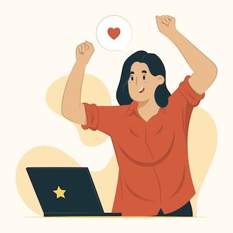 Conceito de reação mulher expressa ilustração de felicidade