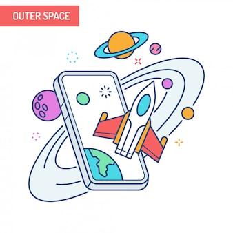 Conceito de realidade aumentada - espaço sideral