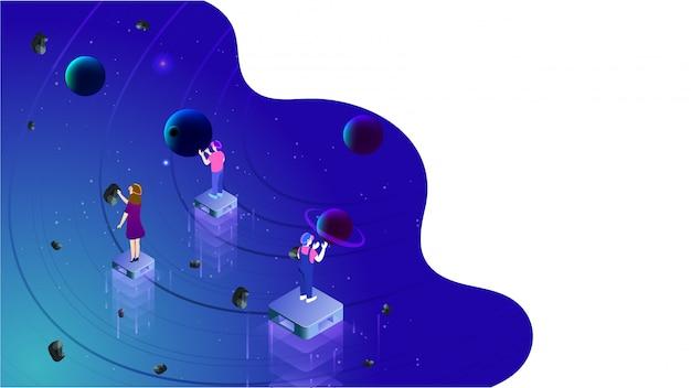Conceito de realidade virtual baseado em design isométrico.