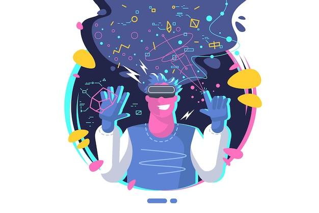 Conceito de realidade virtual. cara jovem usando óculos de vr. ambiente virtual de trabalho, jogos e comunicação.