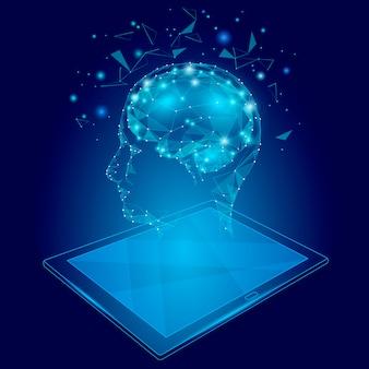 Conceito de realidade virtual de baixo poli cérebro abstrato tablet pc, poligonal geométrica