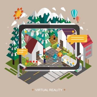 Conceito de realidade virtual em design plano isométrico 3d