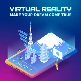 Conceito de realidade virtual em estilo de projeção isométrica
