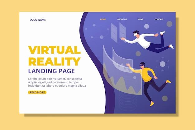 Conceito de realidade virtual - página de destino