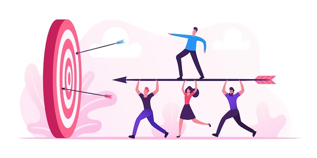 Conceito de realização de metas de negócios. ilustração plana dos desenhos animados
