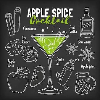 Conceito de receita cocktail de quadro-negro