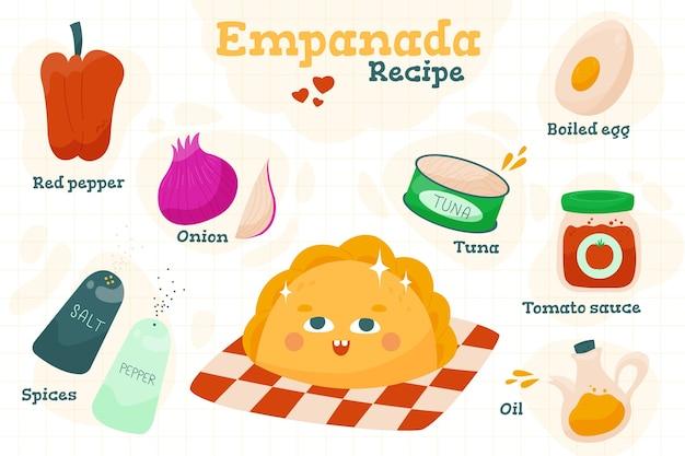 Conceito de receita de ilustração de empanada