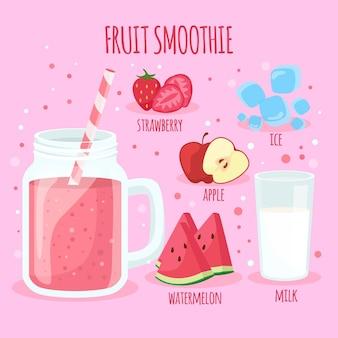 Conceito de receita saudável smoothie
