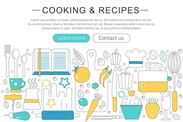 Conceito de receitas de cozinha e cozinha