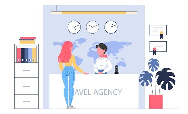 Conceito de recepção de agência de viagens. woker em pé no balcão ajudando um cliente. escritório central de turismo. ilustração.