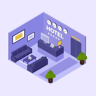 Conceito de recepção isométrica do hotel